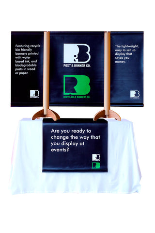 Recyclable Table Top Tradeshow Display with Vertical Triple Banner Stand and Table Runner