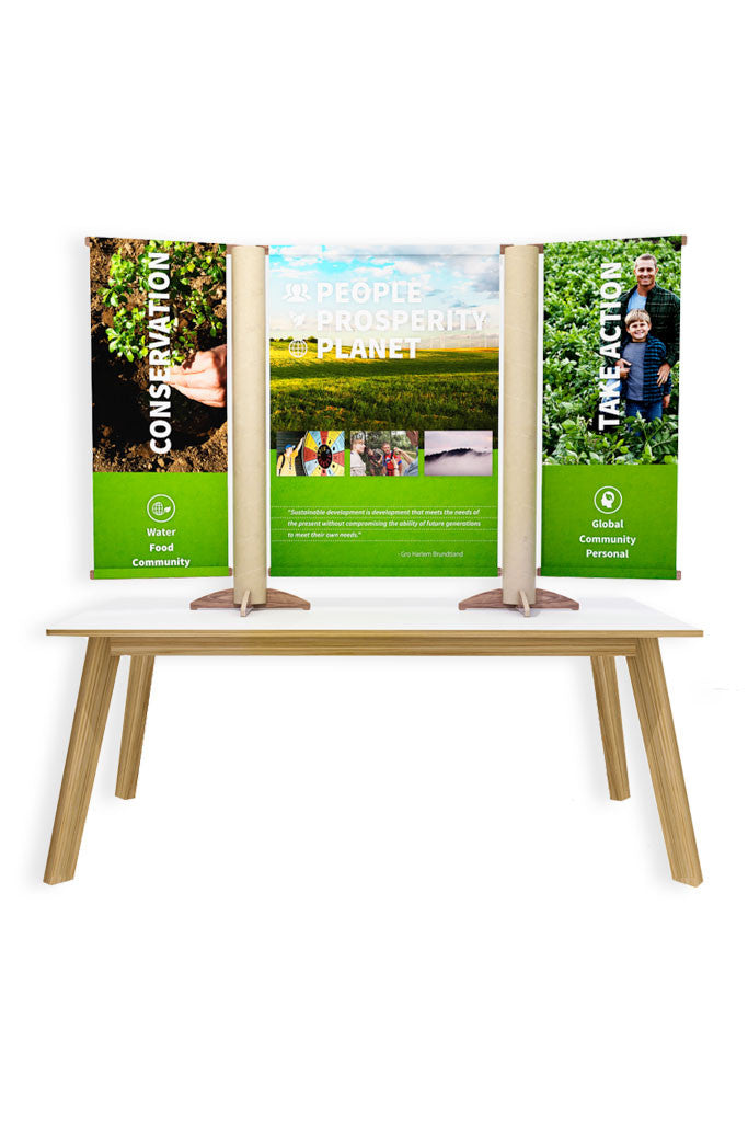 Mini Table Top w 3 Vertical Banners and Stand