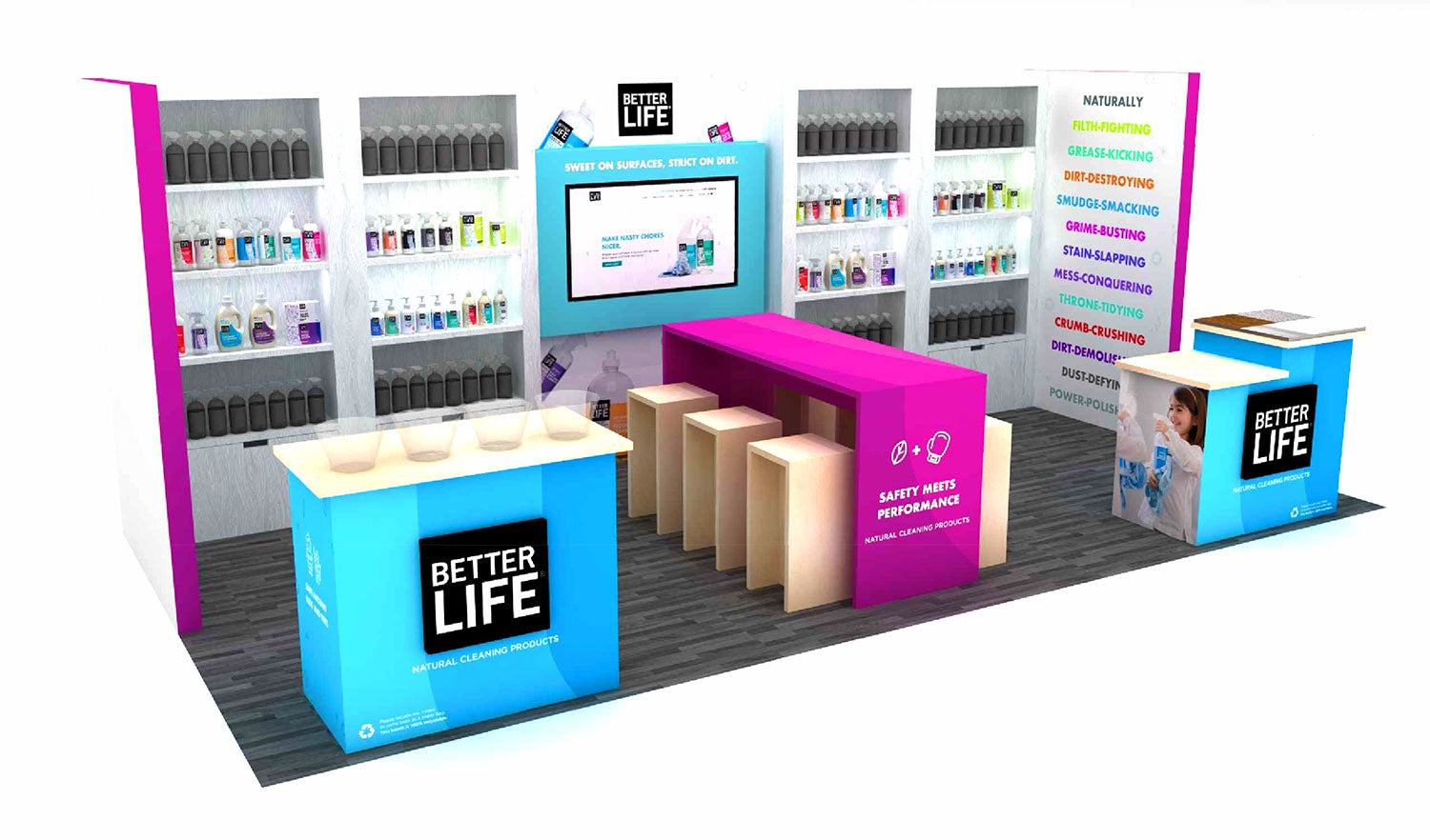 Tradeshow Booth Design for Better Life Cleaning Products 2018