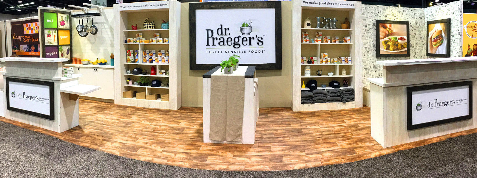 Custom Green Tradeshow Booth Design for Dr Praegers