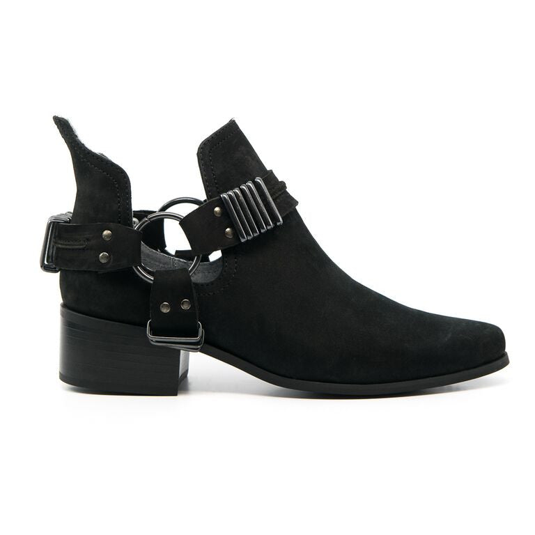 Grey City Willa Black Suede Bootie