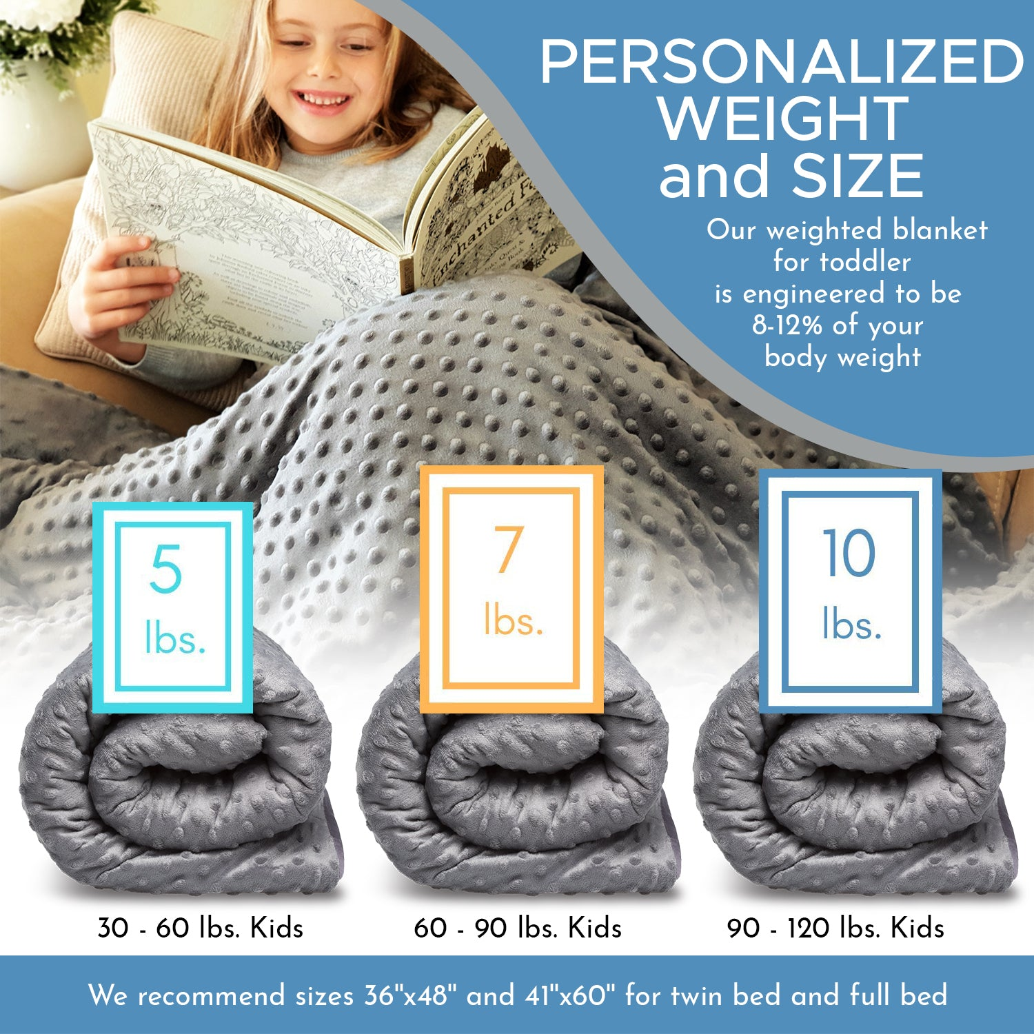 Premium Cooling Weighted Blanket and Duvet For Toddlers & Kids