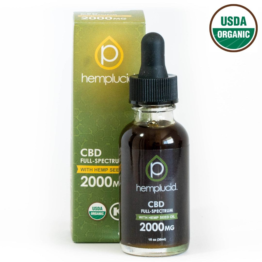 USDA Organic Hemplucid Full-Spectrum CBD in Hemp Seed Oil