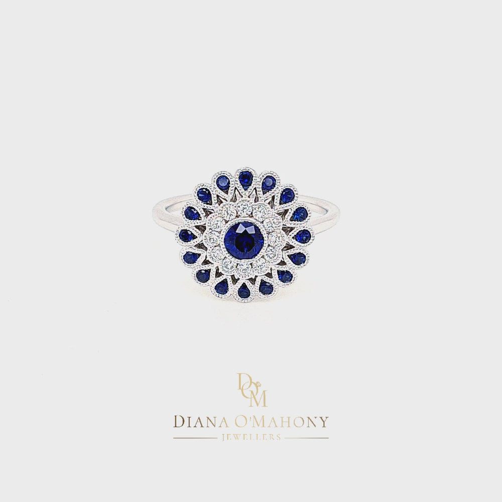 Load and play video in Gallery viewer, 18ct White Gold Vintage Style Diamond & Sapphire Target Cluster Ring