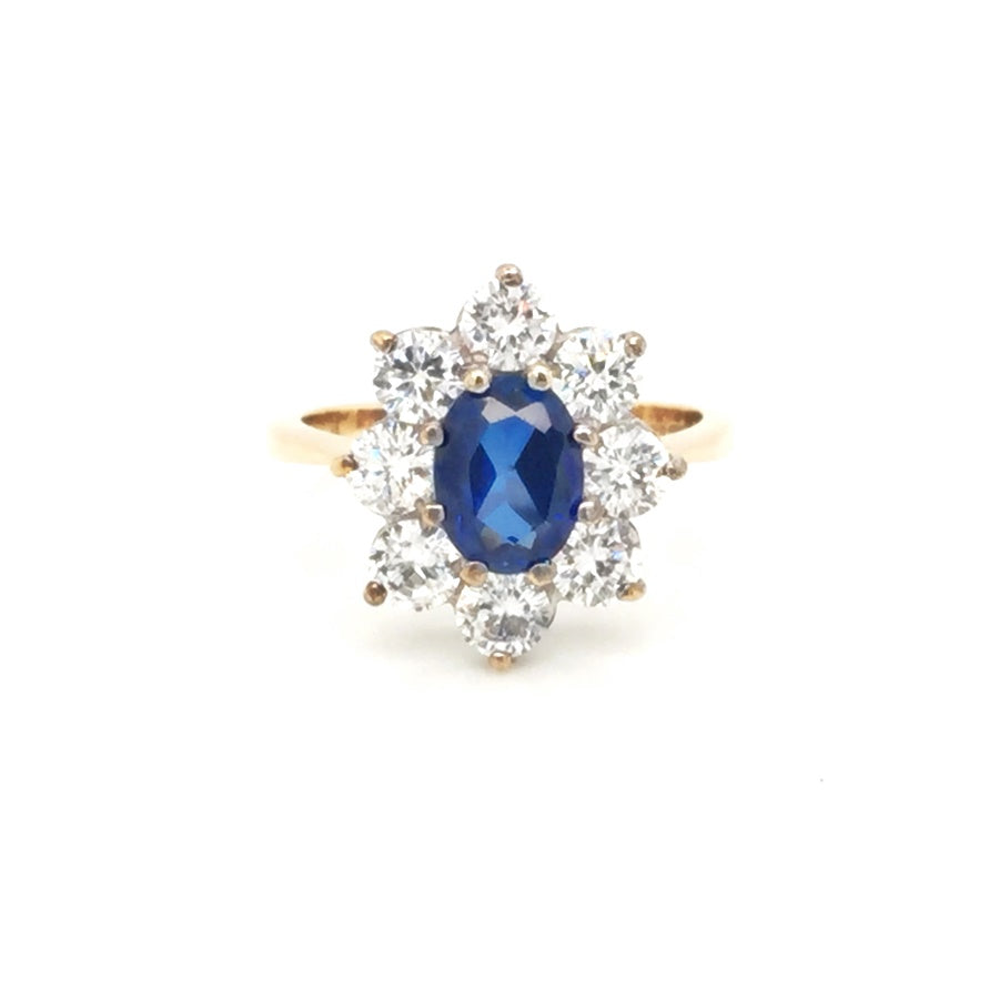 Load image into Gallery viewer, 9ct Gold Oval Sapphire Cubic Zirconia Cluster Ring - Diana O'Mahony Jewellers