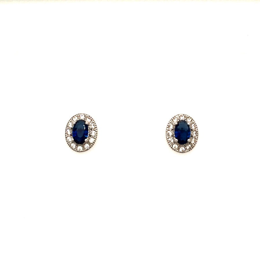 Sterling Silver Vintage Style Oval Sapphire Blue CZ Cluster Earrings - Diana O'Mahony Jewellers