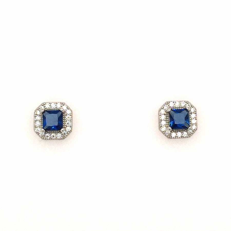 Sterling Silver Vintage Art Deco Style Square Sapphire Blue CZ Cluster Earrings - Diana O'Mahony Jewellers