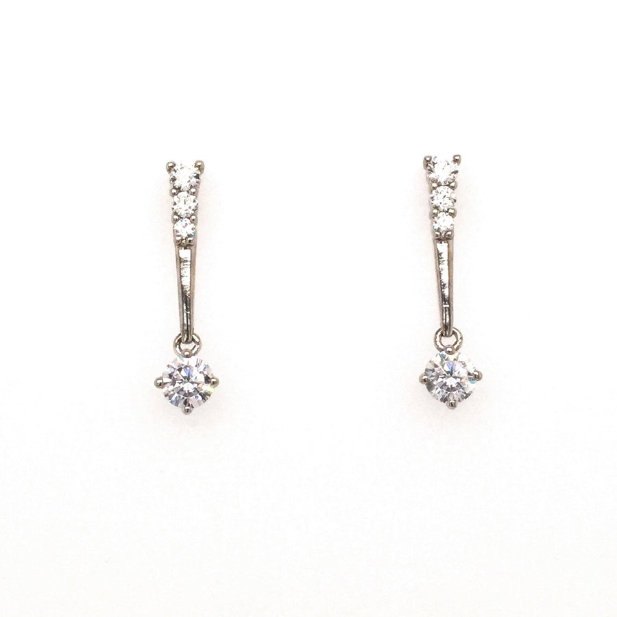 Sterling Silver Graduating Drop Bridal Style CZ Earrings - Diana O'Mahony Jewellers