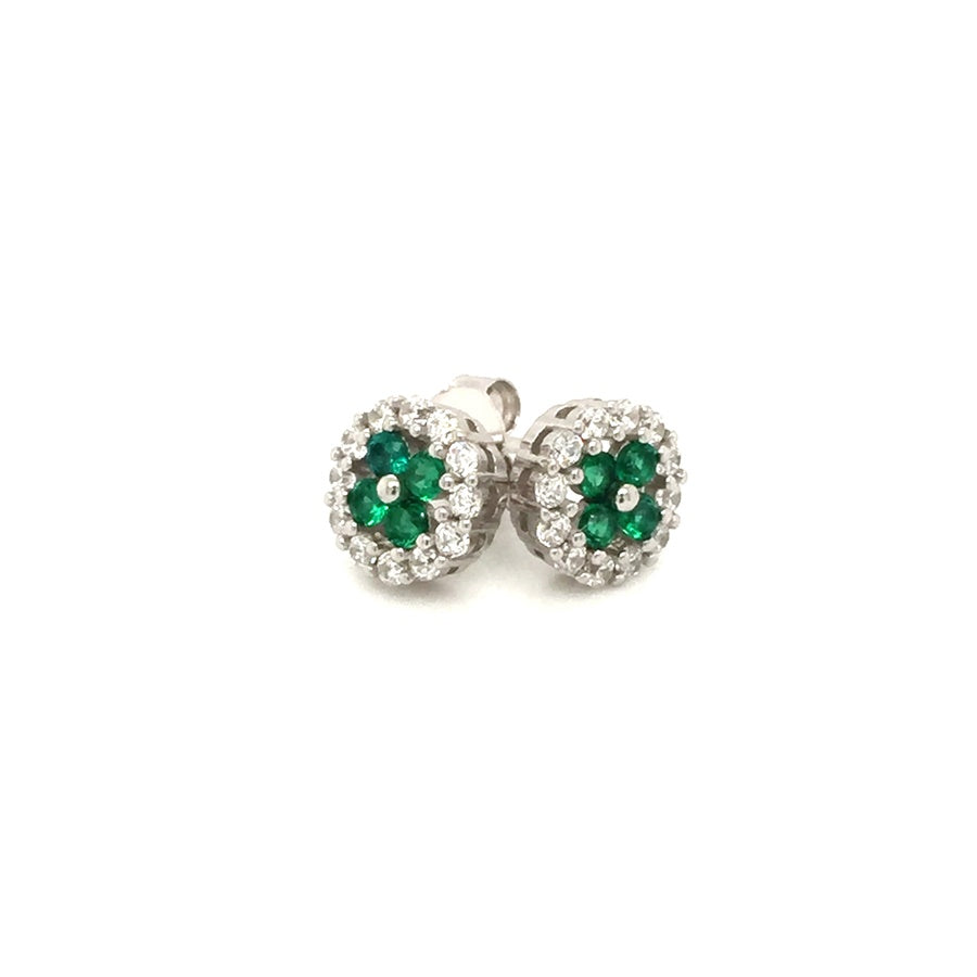 Sterling Silver Art Deco Style Emerald Green CZ Cluster Earrings - Diana O'Mahony Jewellers