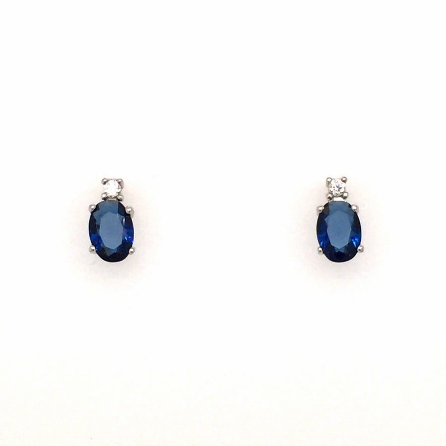 Sterling Silver Oval Sapphire Blue  & Round CZ Earrings - Diana O'Mahony Jewellers