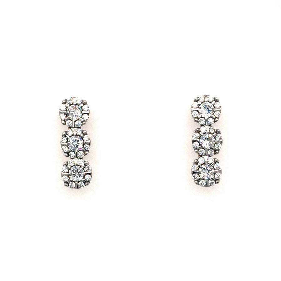 Sterling Silver Triple Round Halo Cluster Drop Earrings - Diana O'Mahony Jewellers