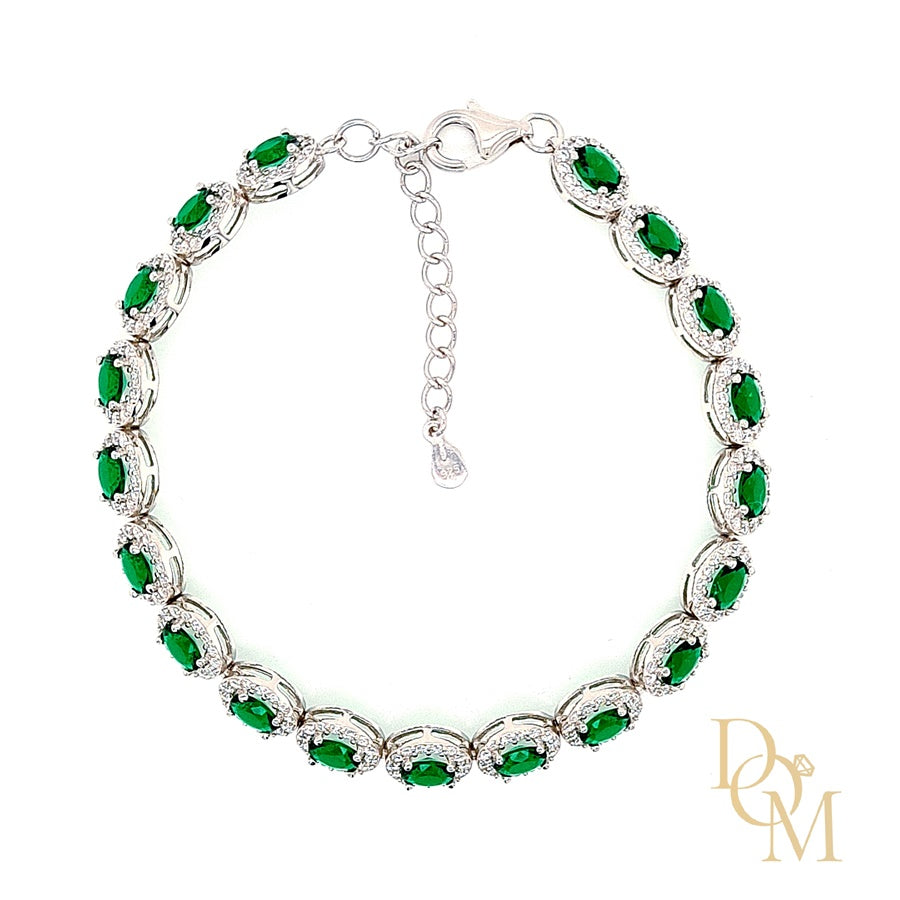 Load image into Gallery viewer, Sterling Silver Oval Emerald CZ Cluster Bracelet