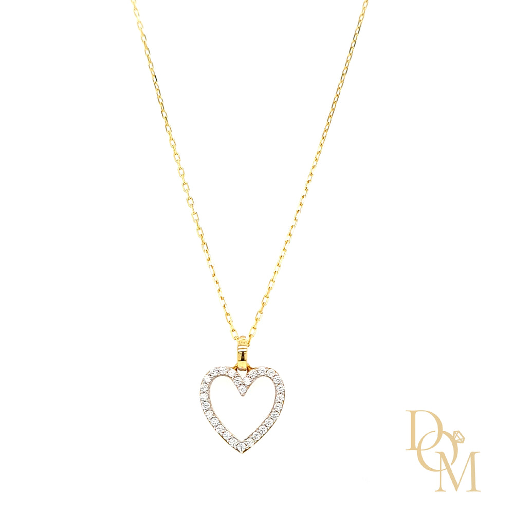 9ct Gold CZ Open Heart Pendant