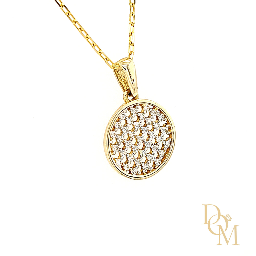 9ct Yellow Gold CZ Circle Disc Cluster Pendant