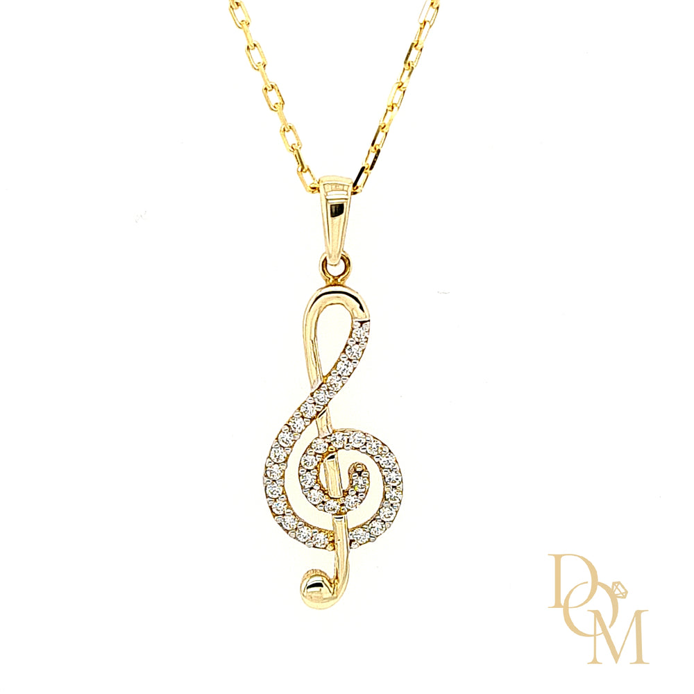 9ct Yellow Gold CZ Treble Clef Necklace