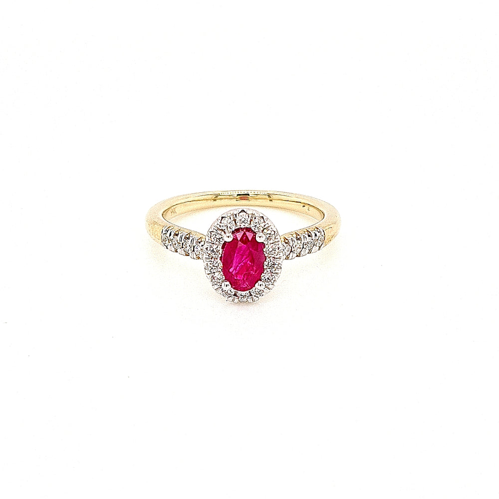 9ct Gold Ruby & Diamond Cluster Ring
