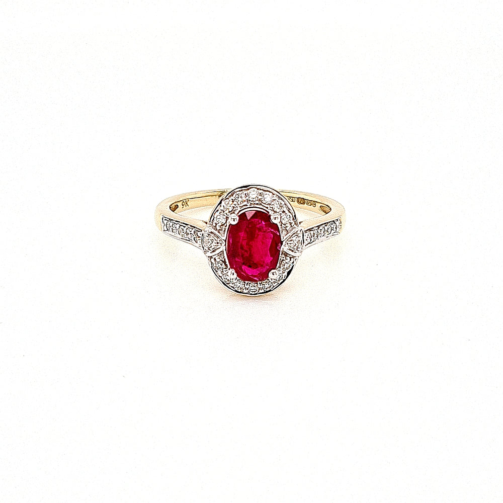 Art Deco Style Ruby & Diamond Cluster Ring