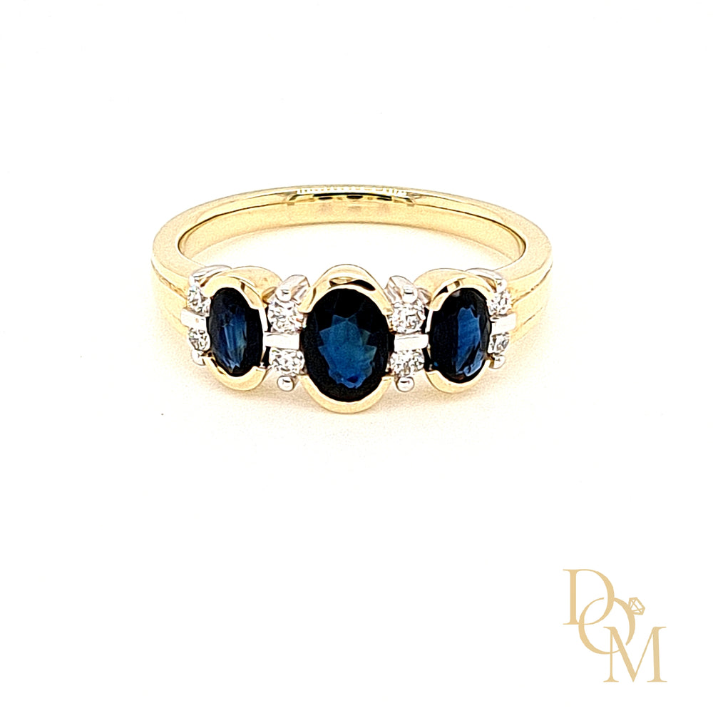 9ct Yellow Gold Three Stone Sapphire & Diamond Ring