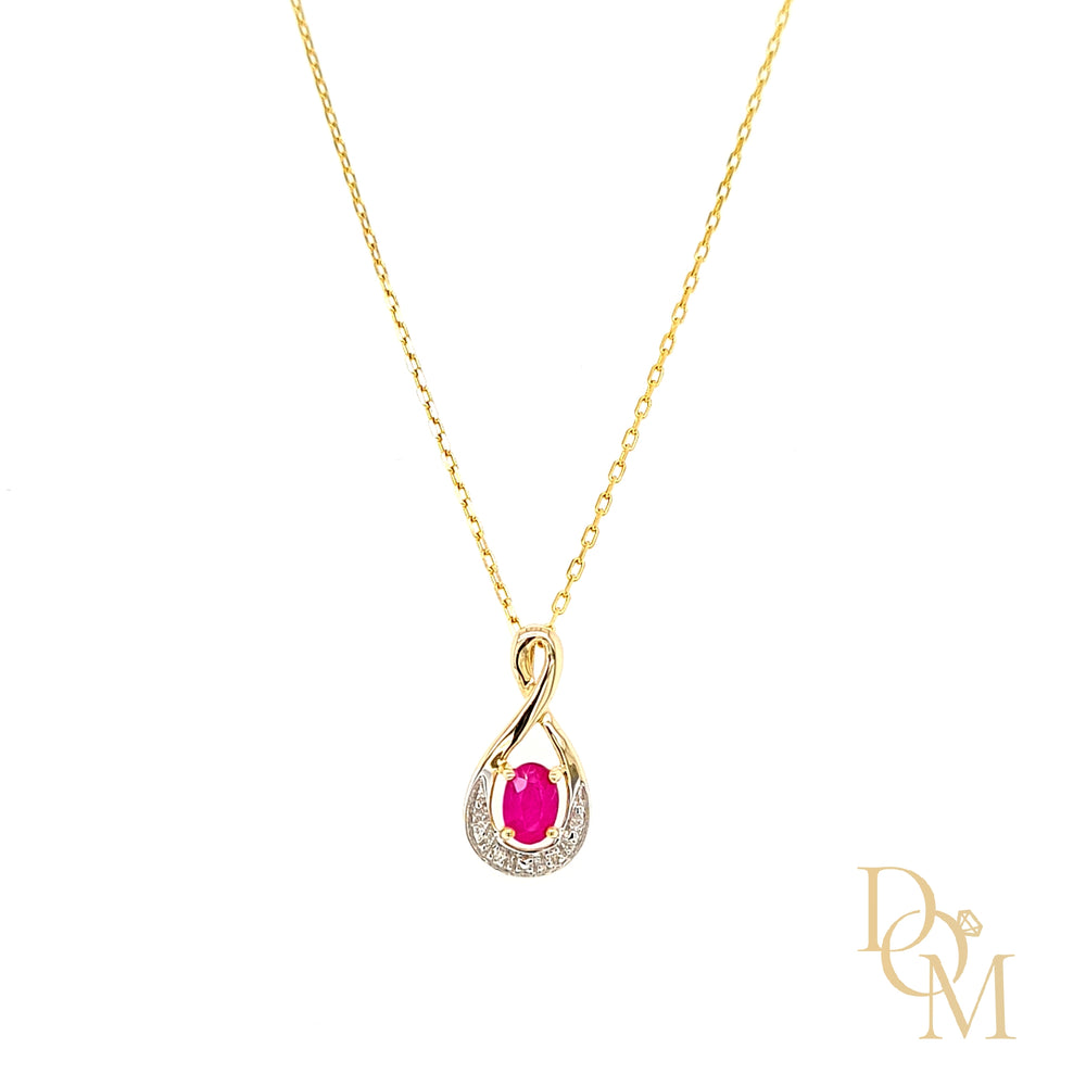 Load image into Gallery viewer, 9ct Yellow Gold Oval Ruby & Diamond Twist Pendant