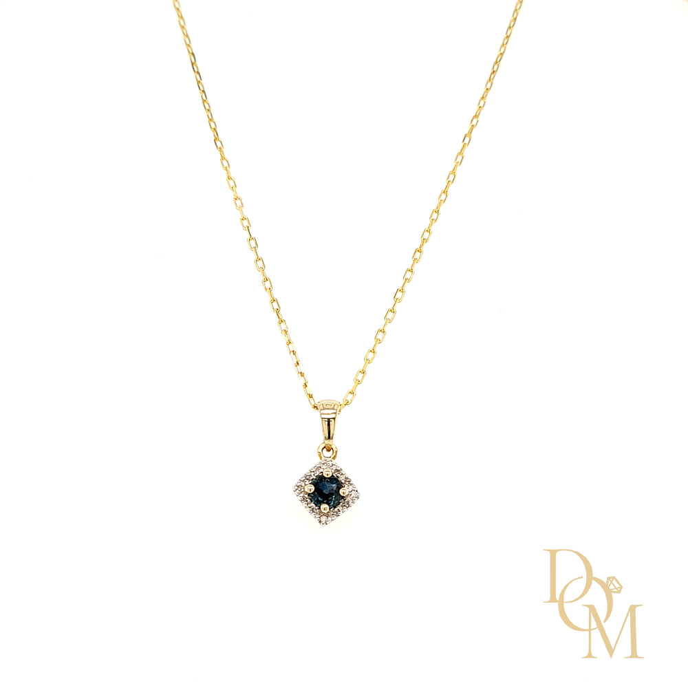Load image into Gallery viewer, 9ct Yellow Gold Sapphire & Diamond Cluster Pendant