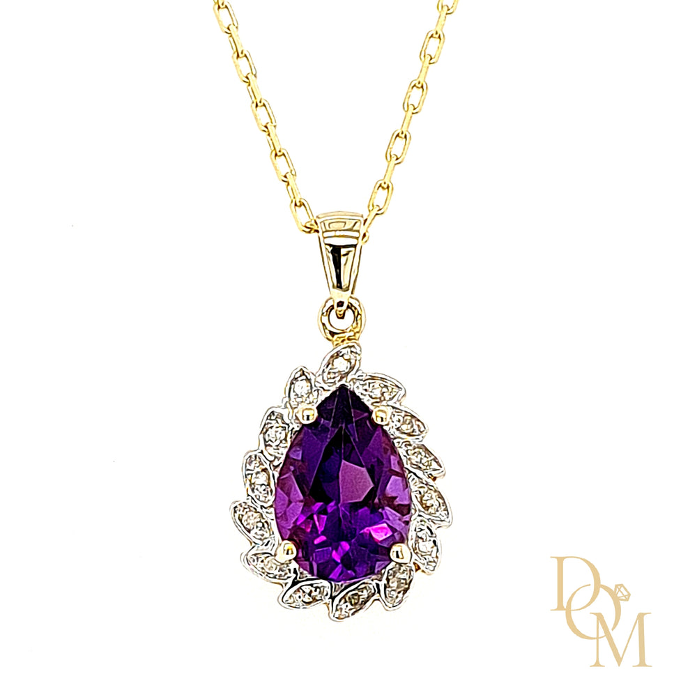 9ct Yellow Gold Amethyst & Diamond Cluster Pendant