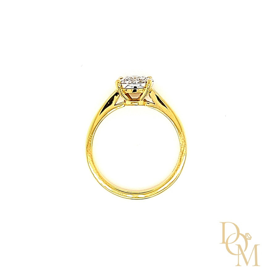 9ct Gold Halo Cluster Diamond Engagement Ring