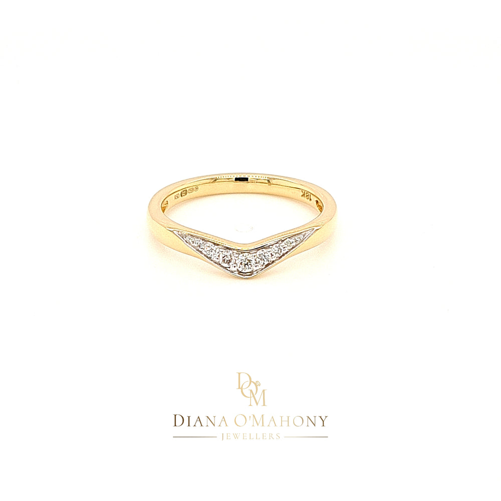 18ct Yellow Gold Wishbone Shaped Diamond Wedding Ring