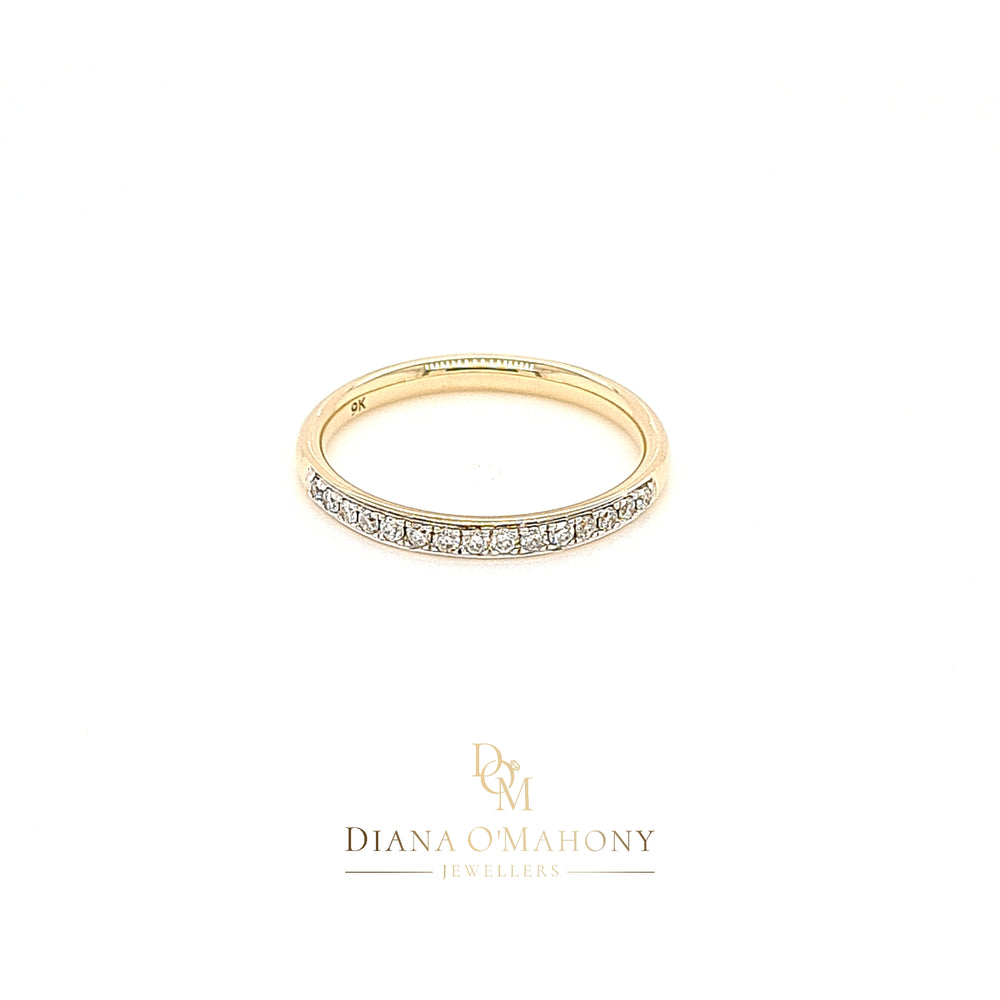 Load image into Gallery viewer, 9ct Gold Pavé-set Diamond Wedding Ring