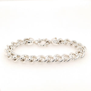 Sterling Silver Curb Link Bracelet with Designer Bolt Ring Clasp - Diana O'Mahony Jewellers