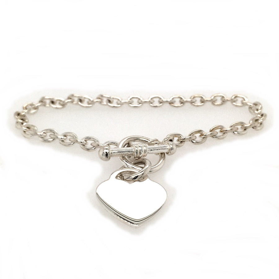 Load image into Gallery viewer, Sterling Silver Tiffany Style Heart & T-Bar Bracelet - Diana O'Mahony Jewellers