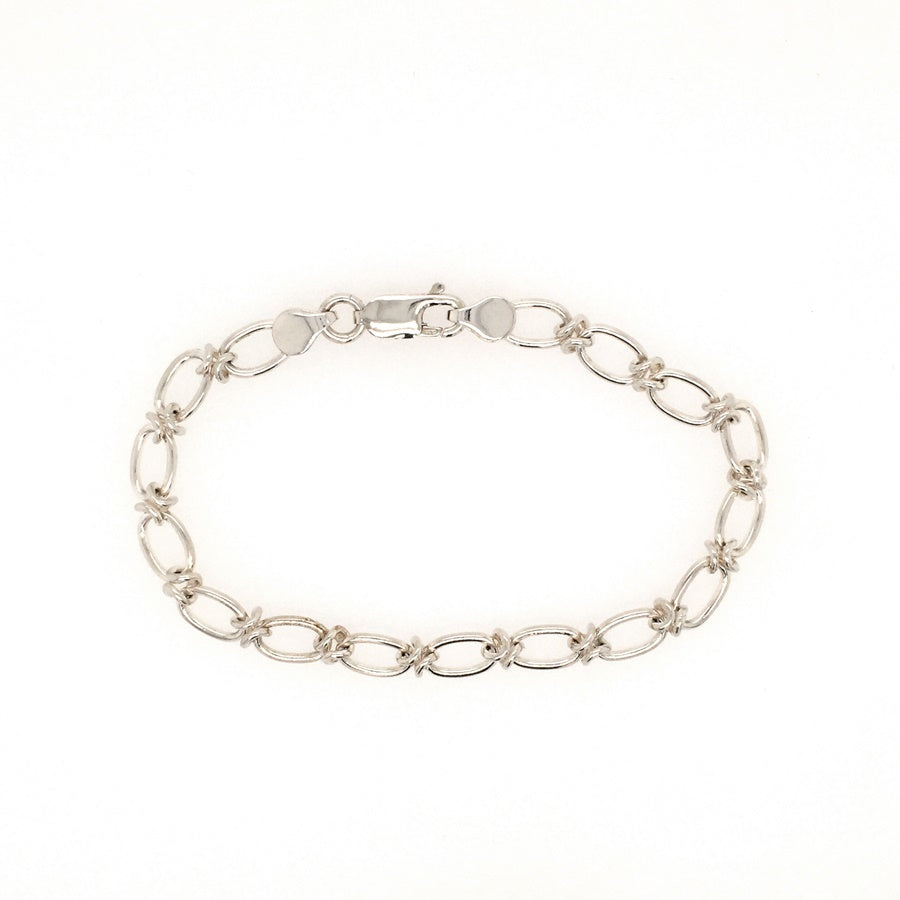 Load image into Gallery viewer, Sterling Silver Handmade Kiss & Oval Link Bracelet - Diana O'Mahony Jewellers