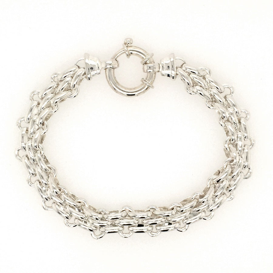 Sterling Silver Gate Style Bracelet with Designer Bolt Ring Clasp