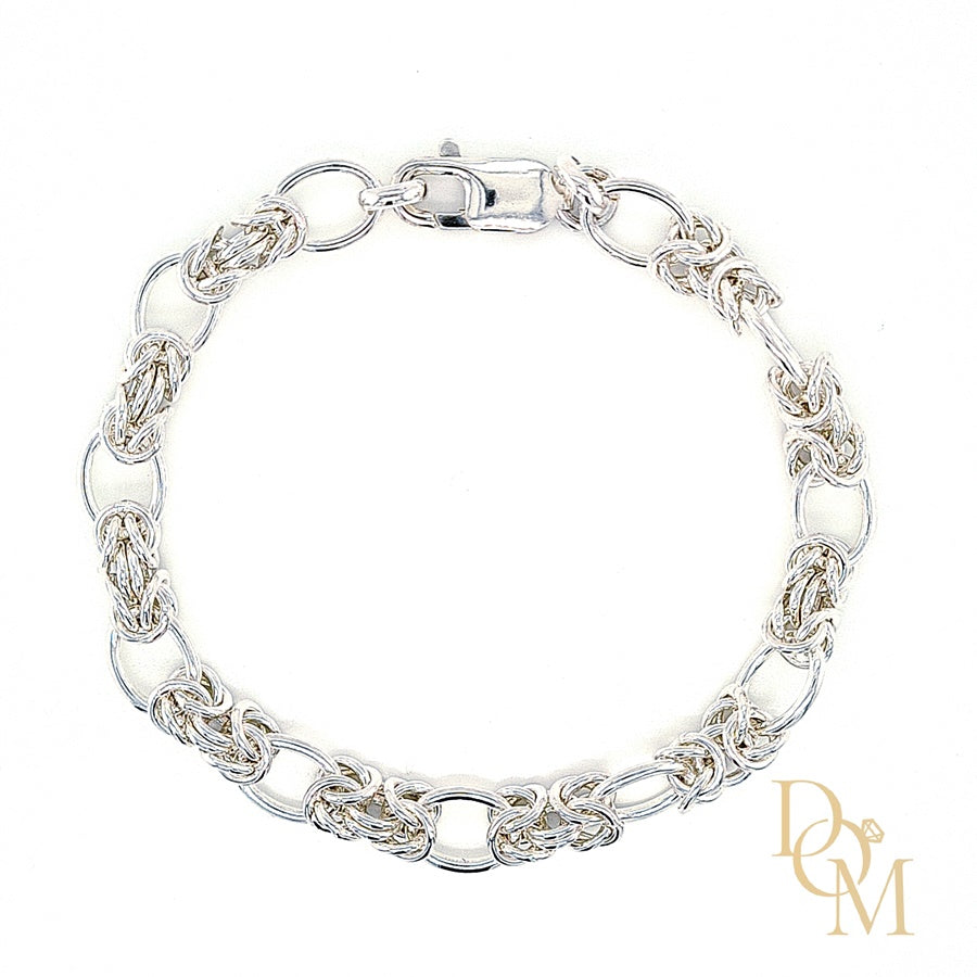 Load image into Gallery viewer, Sterling Silver Oval & Byzantine Link Bracelet