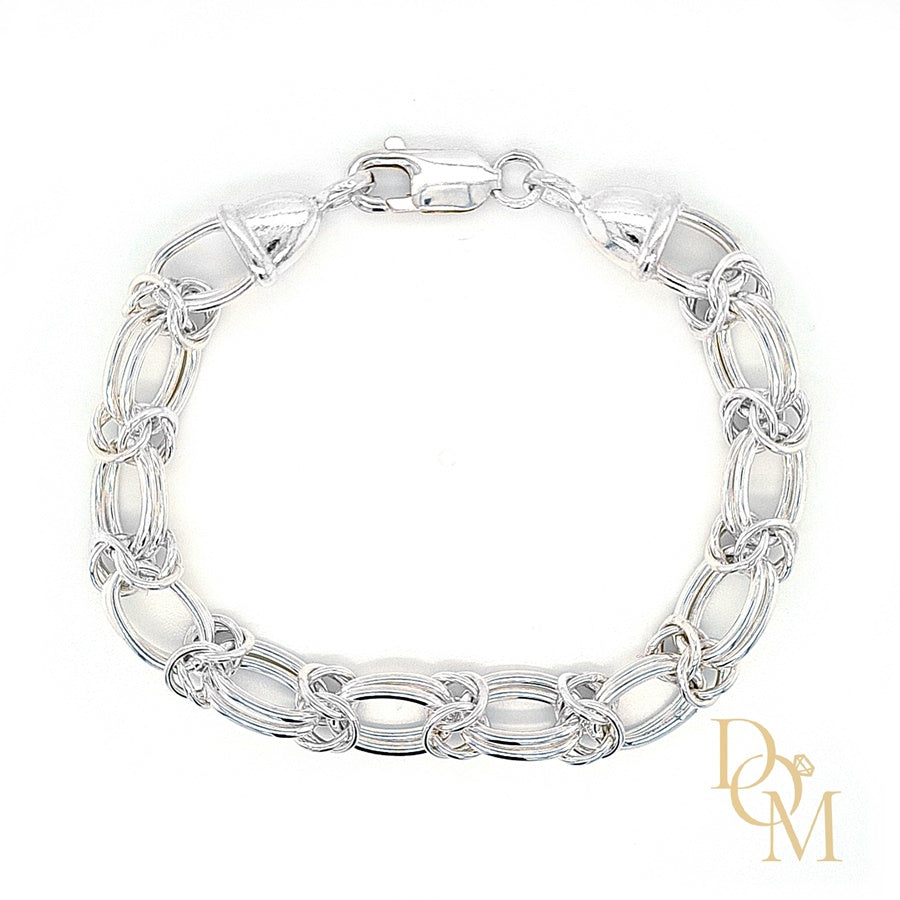 Load image into Gallery viewer, Sterling Silver Double Oval & Byzantine Link Bracelet