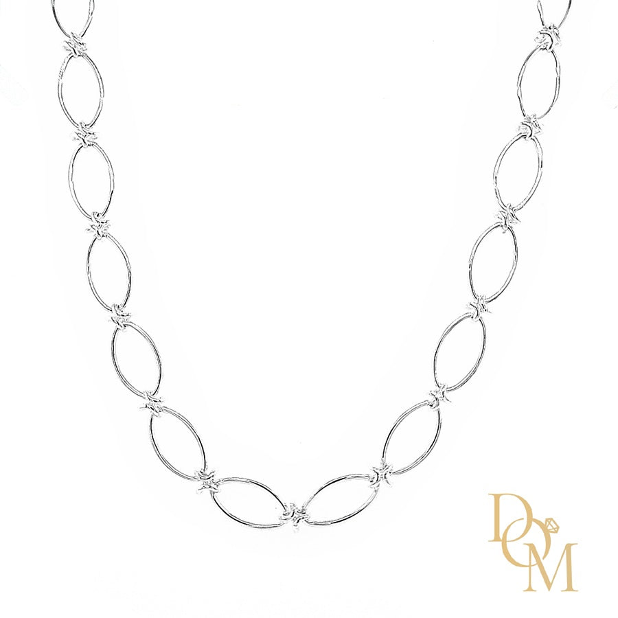 Sterling Silver Oval & Kiss Link Necklace