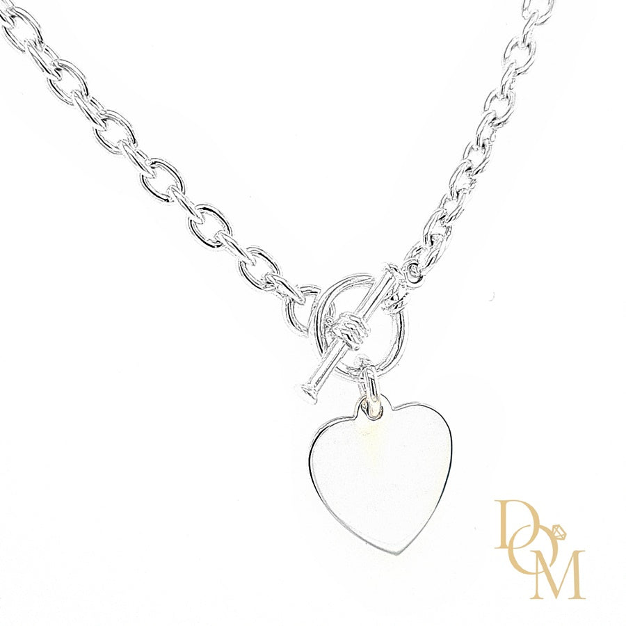 Sterling Silver Heart & T-Bar Necklace
