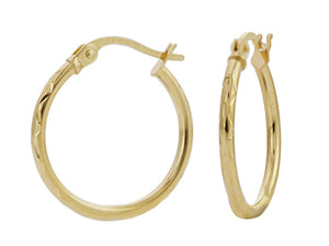 Load image into Gallery viewer, 9ct Yellow Gold Hoop Earrings- 25mm- Diamond Cut