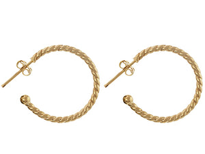 9ct Yellow Gold Half Hoop Earrings with Rope Edge- 23mm