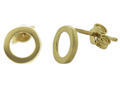 9ct Yellow Gold Open Circle Stud Earrings