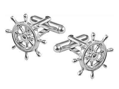 Sterling Silver Ships Wheel Cufflinks