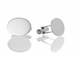 Sterling Silver Flat Oval Cufflinks
