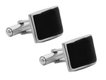 Sterling Silver Curved Black Agate Cufflinks