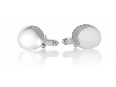 Sterling Silver Oval Domed Cufflinks