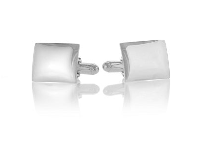 Sterling Silver Rectangular Domed Cufflinks