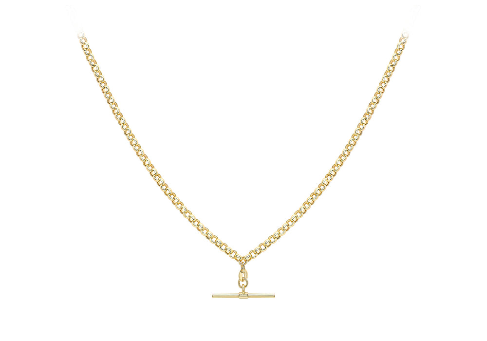 9ct Gold T-Bar & Belcher Link Necklace - Diana O'Mahony Jewellers