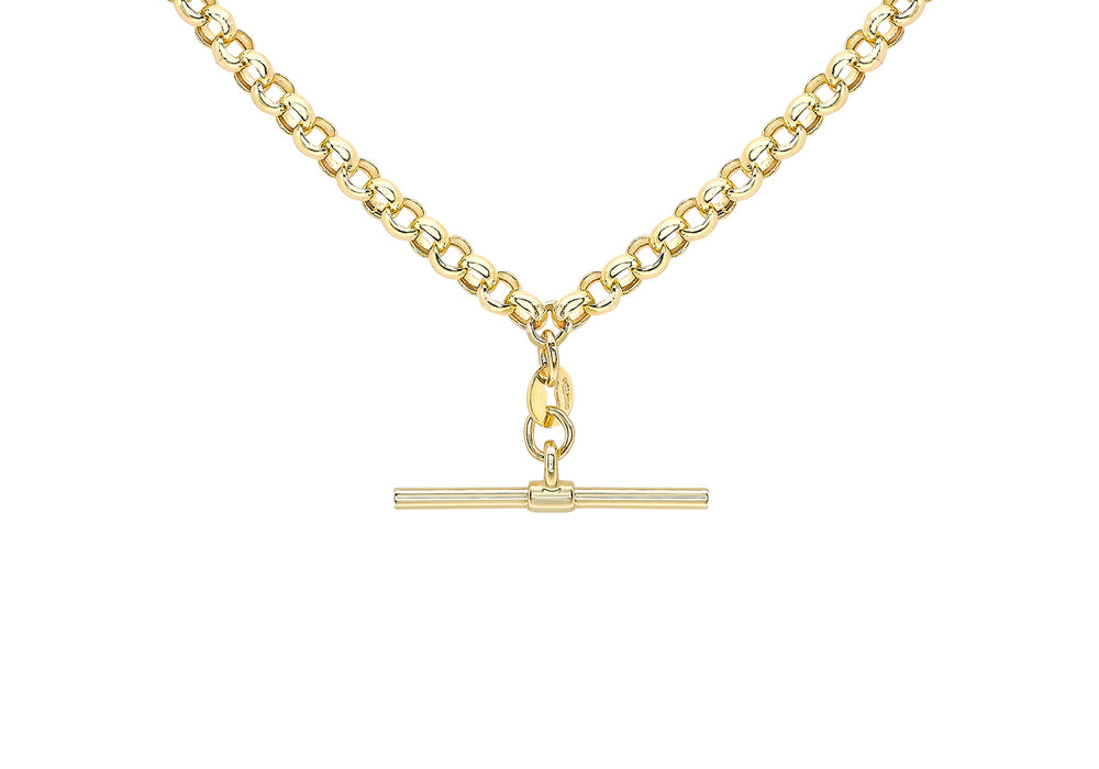 9ct Gold T-Bar & Belcher Link Necklace