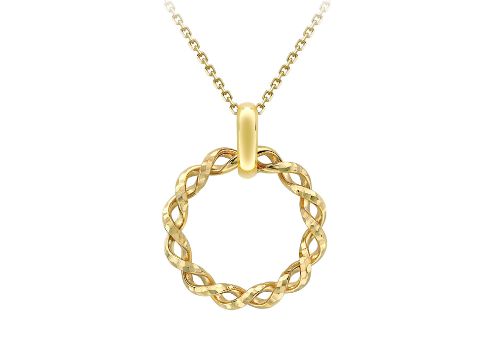 9ct Gold Twisted Circle Necklace - Diana O'Mahony Jewellers