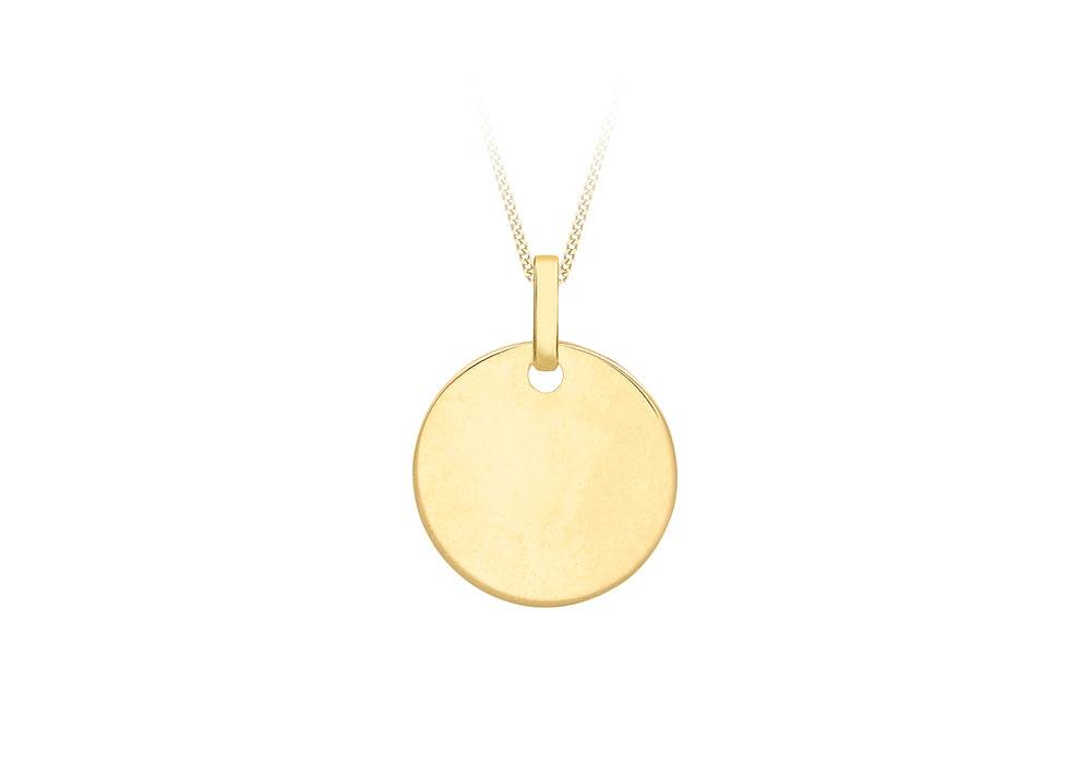 9ct Gold Circular Disc Pendant