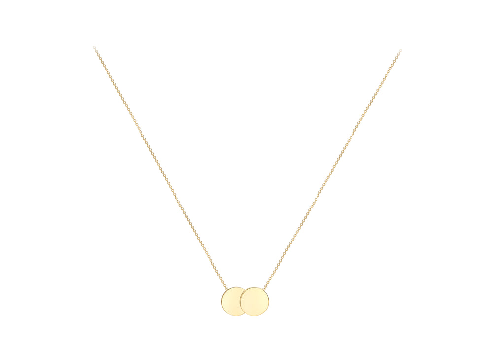 9ct Gold Double Circle Disc Engravable Necklace