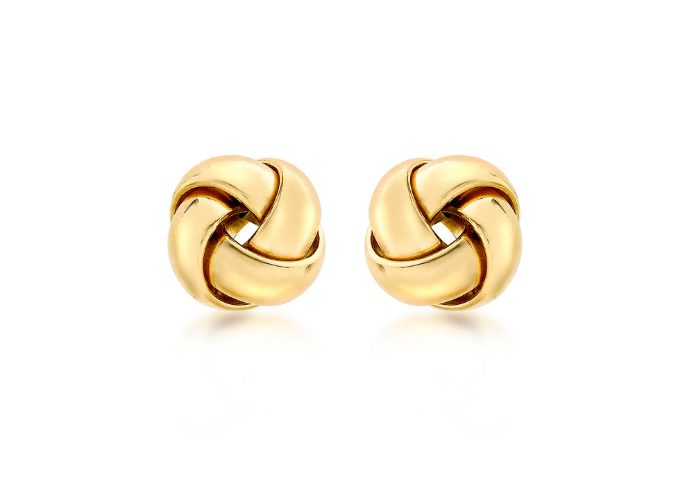 9ct Gold Rounded 10mm Knot Stud Earrings
